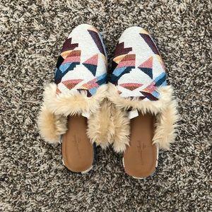 Multi color Mules w/ fur
